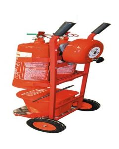 Fire Extinguisher trolley c/w 1 x CO2 and 1 x Powder Extinguisher